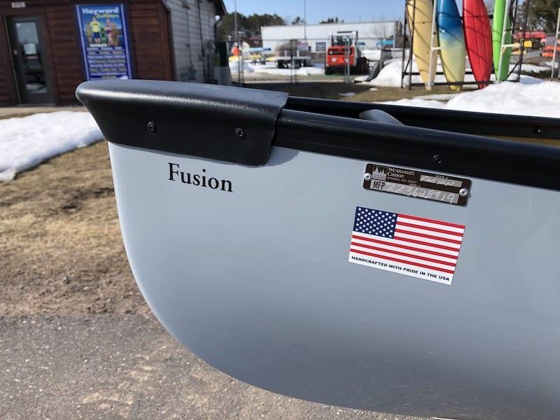 Wenonah Fusion - Kevlar Special, Gray, Black Trim, Hung High Back Web Seat,  Foot Brace Installed - Blem