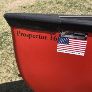 Wenonah Prospector 16 – T-Formex, Black Trim, Curved Hung Web Seats – Blem